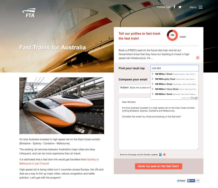 fast trains for Australia